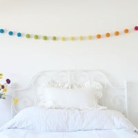 Handmade Needle Felted Rainbow Felt Garland - Multiple Colors Available