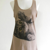 Cat Eyes Cute Animal Style Cat Tank Top Tunic Screen Print Brown T-Shirt Size M