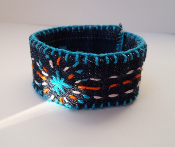 Bracelet Denim  Hand-embroidered Adjustable Cuff Turquoise Blue White Orange Button Closure Customizable