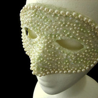 Light Green Mask With Iridescent Glitter, Faux Pearl and Iridescent Beads and Cream Lace, Halloween Masquersad Mask, Free US Shipping