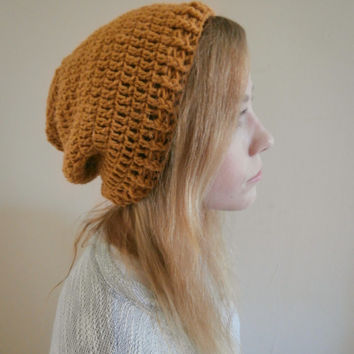 Mustard Yellow Slouchy Beanie womens, teens, mens beanie, hipster, boho, chic, rustic, READY TO SHIP