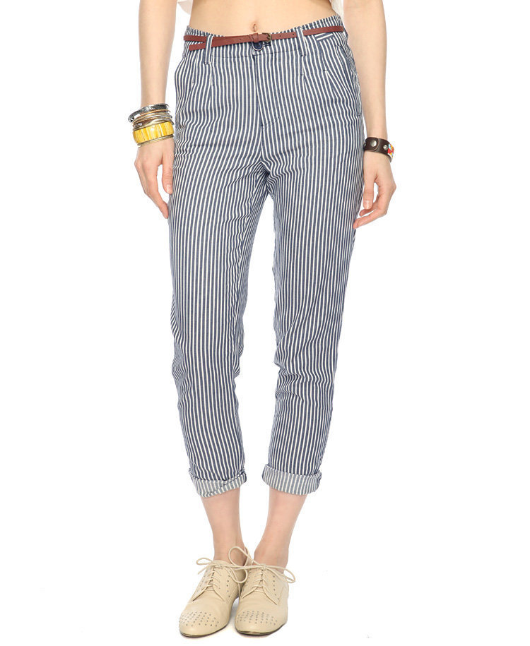 Railroad Striped Pants w/ Belt