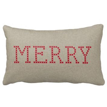 Linen Beige Merry Christmas Lumbar Toss Pillow