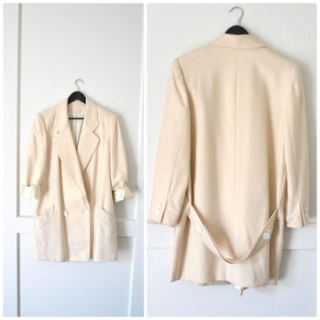 CREAM long wool jacket / MINIMALIST double breasted MENSWEAR inspired oversized pea coat blazer