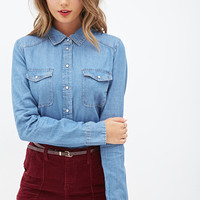 FOREVER 21 Chambray Button-Up Medium Denim
