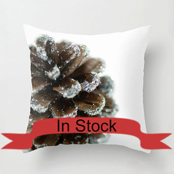 "Brown 16"" Christmas Pillow Cover Decorative Throw Cushion Cover Holiday Pine Cone White Brown Festive Decor Handmade Cotton Zippered Cover"