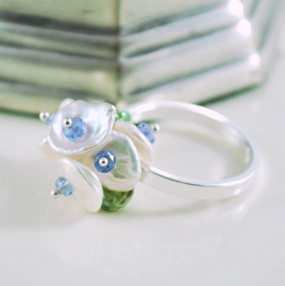 Pearl Ring White Keishi Pearl Blossom with by livjewellery on Etsy