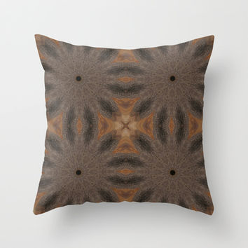 Brown & Taupe Sunburst Flowers Throw Pillow by 2sweet4words Designs | Society6
