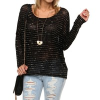 Promo-black Open Knit Casual Top