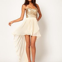 TFNC Dress with Sequin Bandeau and Hi Lo Skirt at asos.com