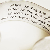 Personalized Quote or Lyrics Hidden Message Cuff Bracelet