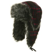 Poly Wool Plaid Trooper Hat - Fuchsia Red W28S67D