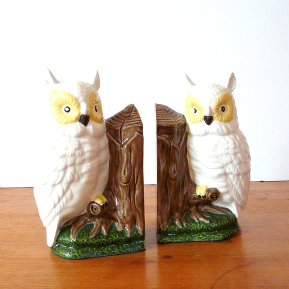 Ceramic Owl Bookends Vintage Owls From Thriftonica On Etsy