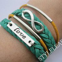 Bracelet-Ture love will go on Bracelet,antique silver love bracelet,infinity bracelet