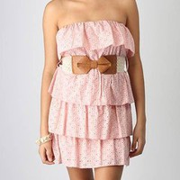 strapless belted perforated ruffle dress &amp;#36;34.00 in PINK WHITE - Casual | GoJane.com