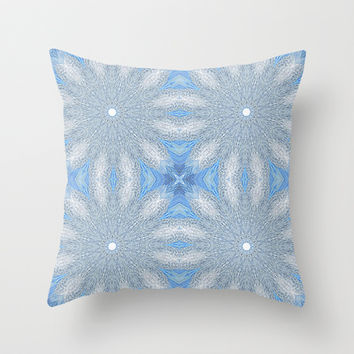 Blue & Gray Sunburst Flowers Throw Pillow by 2sweet4words Designs | Society6