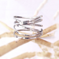 "RING  ""Silver Lines"", Hammered, Forged, Stackable, Organic, Rustic, Sterling Silver."