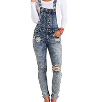 DESTROYED ACID WASH DENIM OVERALLS