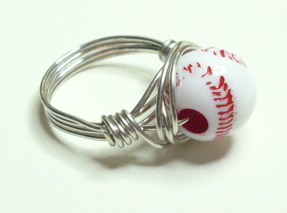 Red White and Silver Baseball Wire Wrapped Ring