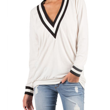 STRIPED RIB BAND TOP - IVORY