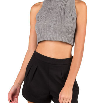 Cable Knit Cropped Sweater Tank - Gray - Gray /