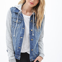 LOVE 21 Hooded Denim Jacket Denim Washed