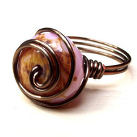 Pink Glass Ring:  Antiqued Brass Wire Wrapped Swirl Ring, Blush Soft Rose Opal, Size 8, Custom Size