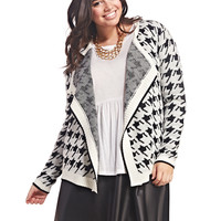 Houndstooth Open Cardi | Wet Seal+