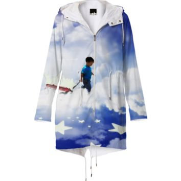 STAR BOY WITH LITTLE RED WAGON RAINCOAT created by gravityx9   Print All Over Me