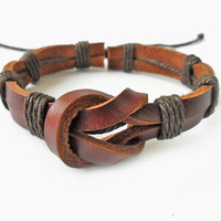 Jewelry bangle leather bracelet woven bracelet women bracelet men bracelet made of hemp rope brown leather woven   SH-1658