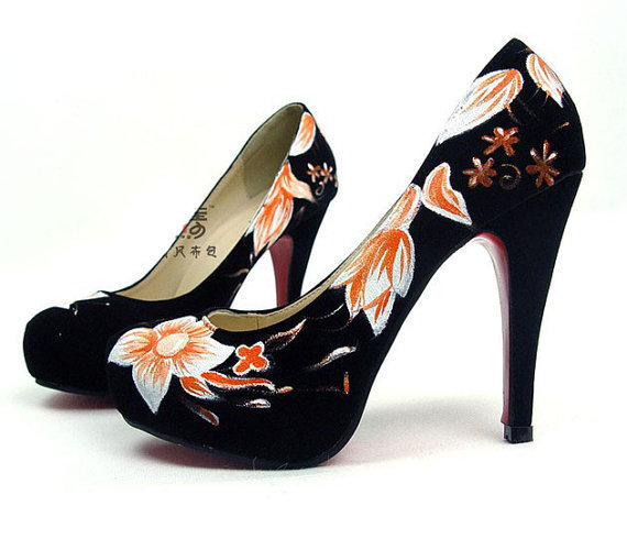 yellow flower handpainted black Velveteen high heels shoes girls like