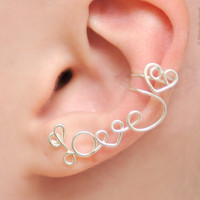 No Piercing Left Ear Cuff &quot;LOVE&quot; with a heart - silver plated
