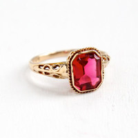 Antique 10k Rose Gold Art Deco Filigree Simulated Ruby Ring- Size 5 Vintage 1920s 1930s Emerald Cut Pink Stone Fine Jewelry