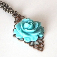 Teal Blue Rose Resin Cabochon Filigree Necklace, Antique Brass