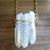 Raw Crystal Necklace - Vanilla Crystal Quartz Points - Layering Necklace - Boho Gypsy