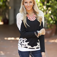 All Out In Lace Top Black