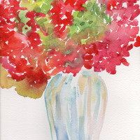 Hydrangeas flowers Painting,  Original Watercolor, Red and Green petals