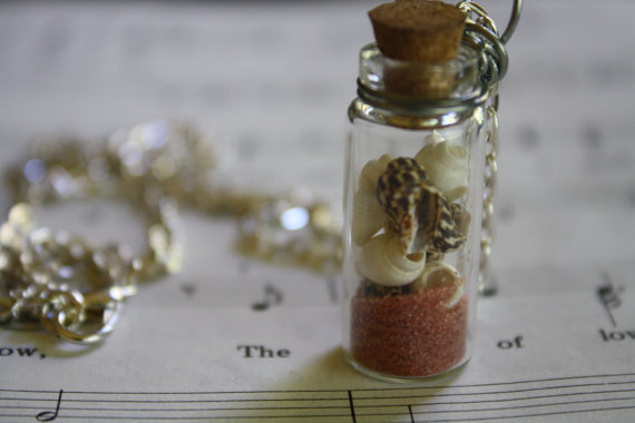 Christmas in July Special Rosy Beaches glass bottle necklace : pink sand and white and brown shells