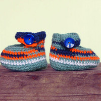 Crocheted striped slippers newborn baby boy / girl