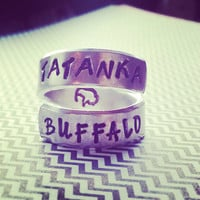 Tatanka/buffalo stregth, stability, gratitude, abundance ,spiral ring hand stamped with love
