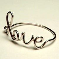 sterling silver love ring-  love script ring- Special price sterling silver wire 925- keoops8 shop