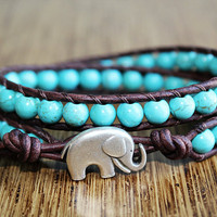 Elephant Bracelet, Leather Beaded Wrap Bracelet 2x, Turquoise Blue Bracelet, Elephant Jewelry, Lucky Jewelry, Boho Chic