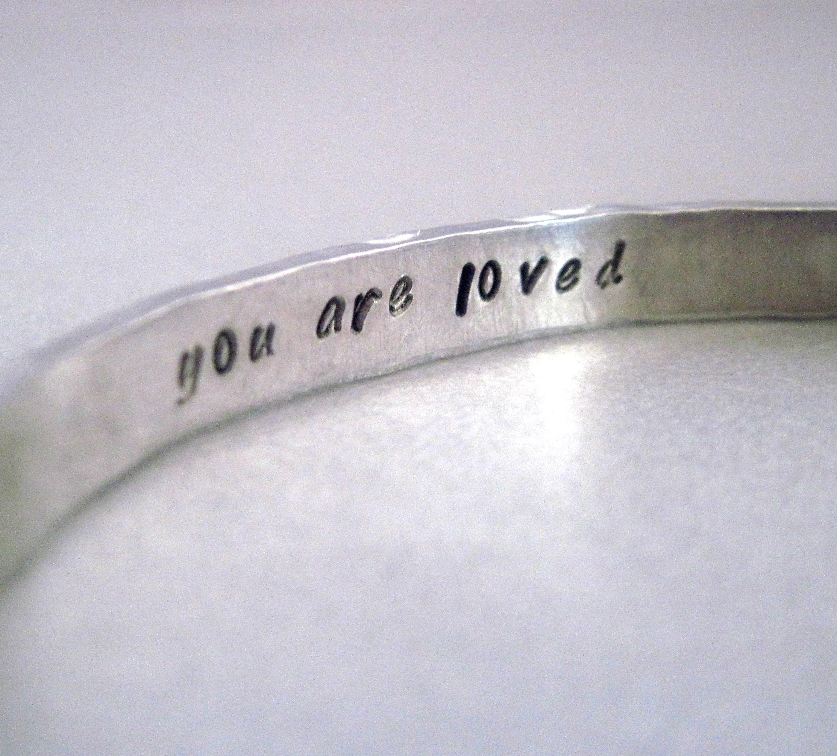 Custom Secret Message Bracelet - Hammered and Personalized with YOUR Favorite Quote or Message - Hand Stamped Aluminum Cuff