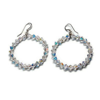 Oprah crystal hoop earrings handmade jewelry on etsy
