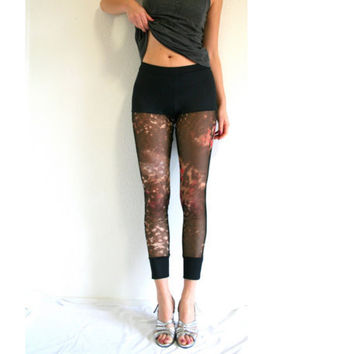 Black leggings with animal print mesh MADE to ORDER
