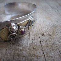 Sterling &amp; Gold Bracelet with Ruby Handmade etsy metal jewelry