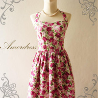 Amor Vintage Inspired Romantic Shabby Chic Pink Rose Garden Wedding Prom Party Dress Neck Tie Style - Once Upon A Time-  Size S-