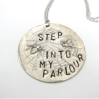 spider web &amp; fly necklace - step into my parlor halloween jewelry