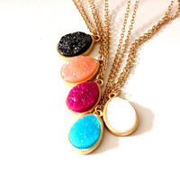 Druzy tear drop pendants