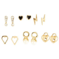 6 Pair Geo / Charm / Pearl Earring Set